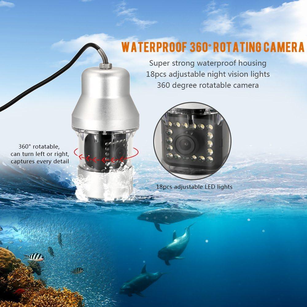 Lixada Fischfinder Unterwasserfischen Kamera 1000TVL Tragbare wasserdichte 18 LEDs 360 Grad Drehen Kamera Fisch Finder 7 Zoll LCD Monitor 20M// 50M// 100M Kabel
