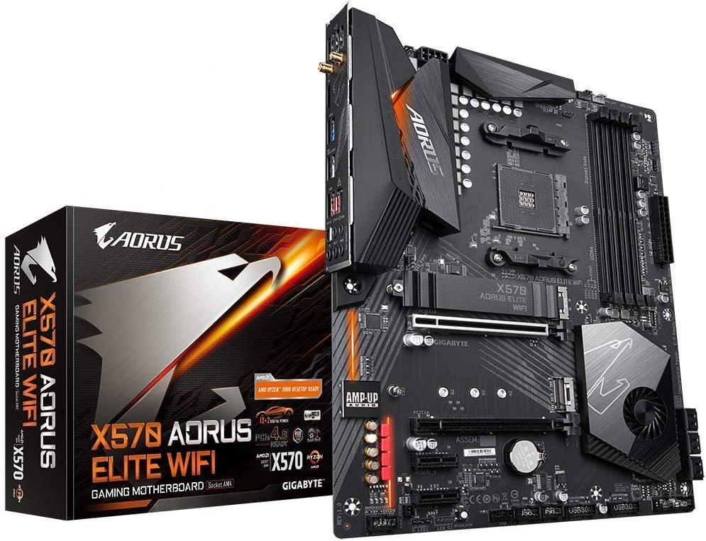 GIGABYTE X570 AORUS Elite Wifi (AMD Ryzen 3000/X570/ATX/PCIe4.0/DDR4/Intel Dual Band 802.11AC WIFI/Front USB Type-C/RGB Fusion 2.0/M.2 Thermal Guard/Gaming Motherboard) (Renewed)