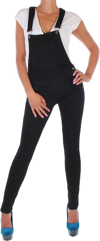 Black Denim BD Damen Jeans R/öhre Latzhose Jumpsuit Overall in schwarz