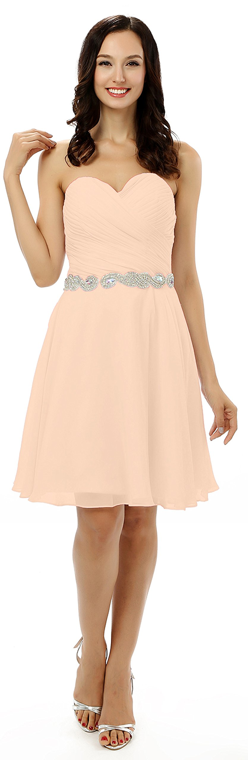 VaniaDress Women Sleeveless Short Bridesmaid Dress Evening Prom Gown V196LF Champagne US26W