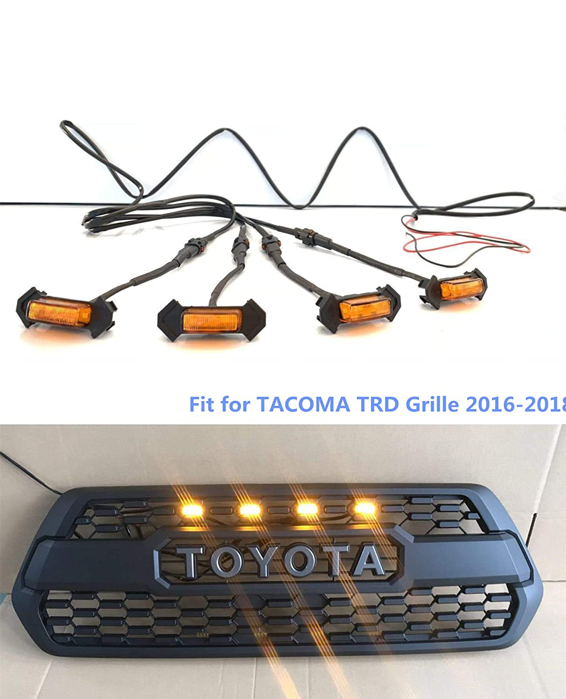 TACOMA TRD Grille LED Amber Lights/Raptor fit for TACOMA TRD GRILLES 2016-2018(4 Pack) JTP