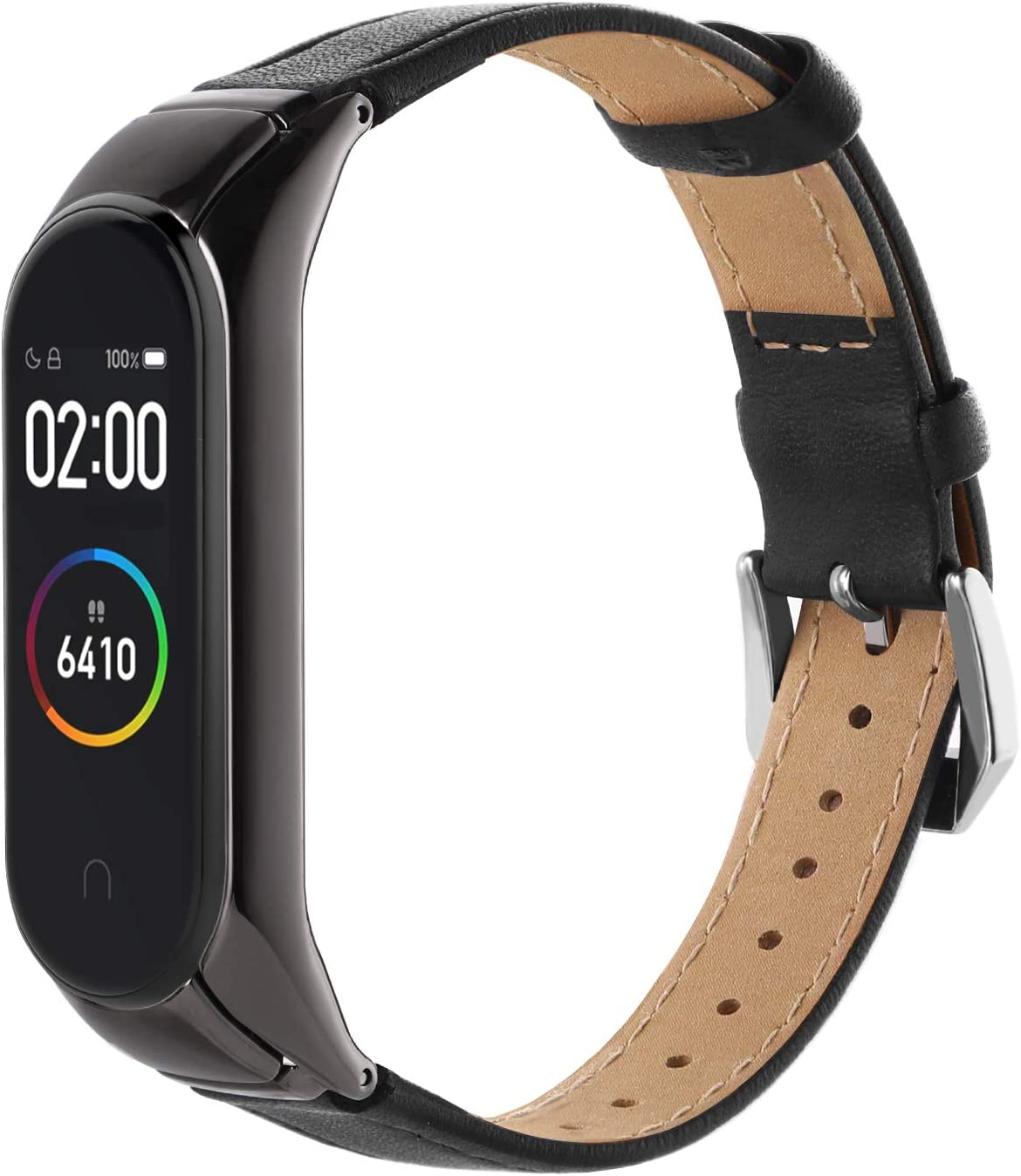 Hianjoo Correa Compatible con Xiaomi Mi Band 4, Pulsera Cuero con Metal Case Banda Repuesto Fitness Sports Correas Brazalete Extensibles Leather Band Compatible con Mi Band 4, Mejorar, Negro