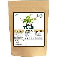 Just Jaivik 100% Organic Tulsi Powder Holy Basil Powder- Ocimum Sanctum- 0.5 LB/227 g 1/2 Pound- USDA Organic Certified - An Ayurvedic Adaptogen