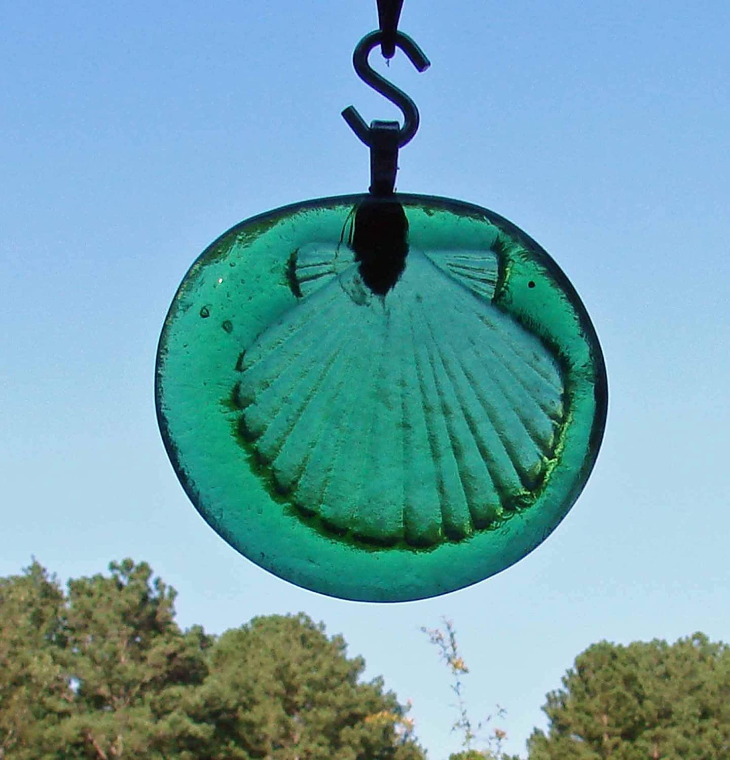 Green Seashell Up-cycled Glass Bottle Bottom Round Ornament Sun Catcher