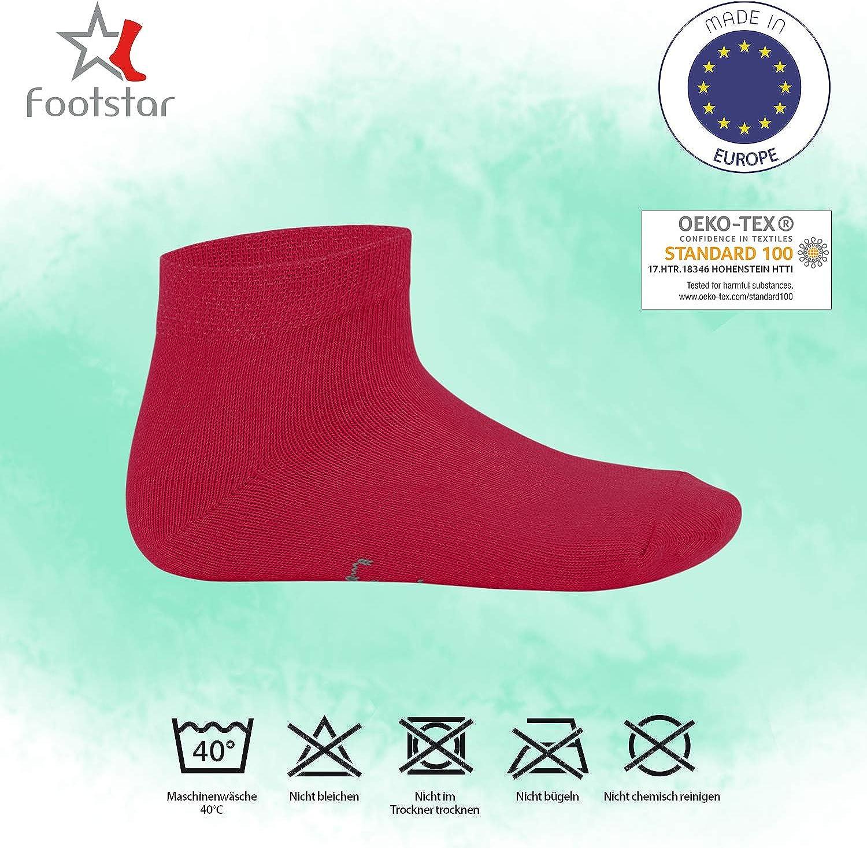 Footstar SNEAK-IT KIDS Low Cut Socks cotton quarter socks for girls or boys 10 pairs nice colours