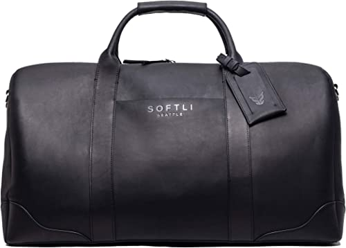SOFTLI Genuine Leather Duffle Bag Large Overnight Weekender Travel Luggage For Men and Women
