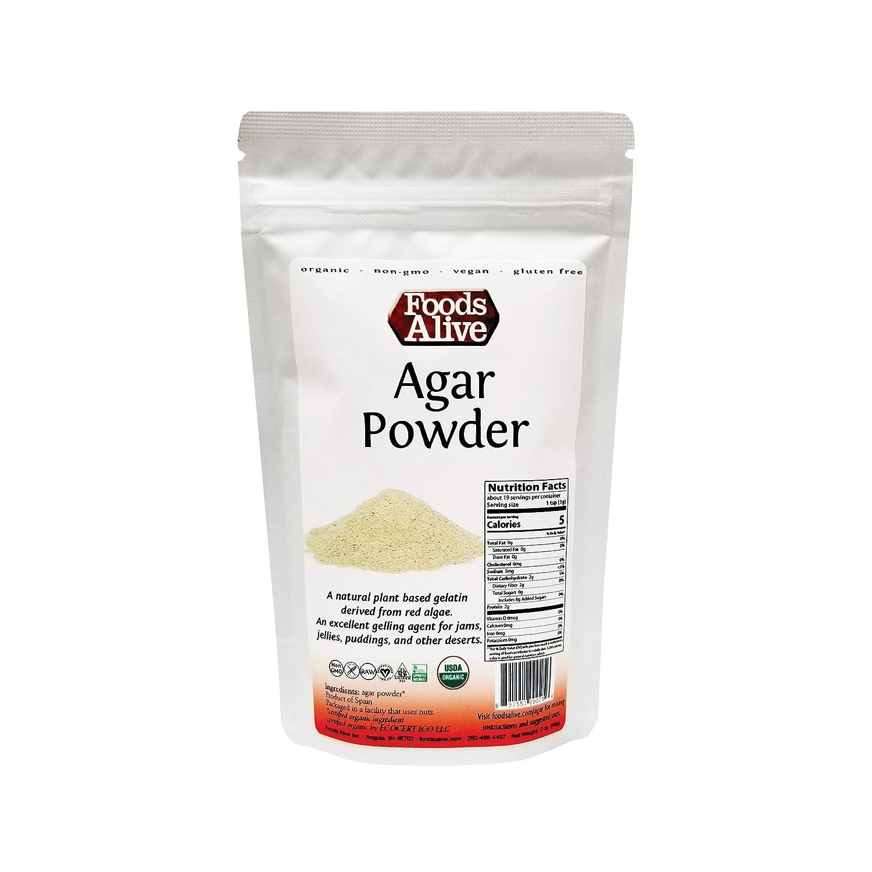 Agar Agar Powder, Organic, Plant-Based, Vegan Gelatin, 2oz, Vegetarian Gelatin, Kosher, Gluten Free