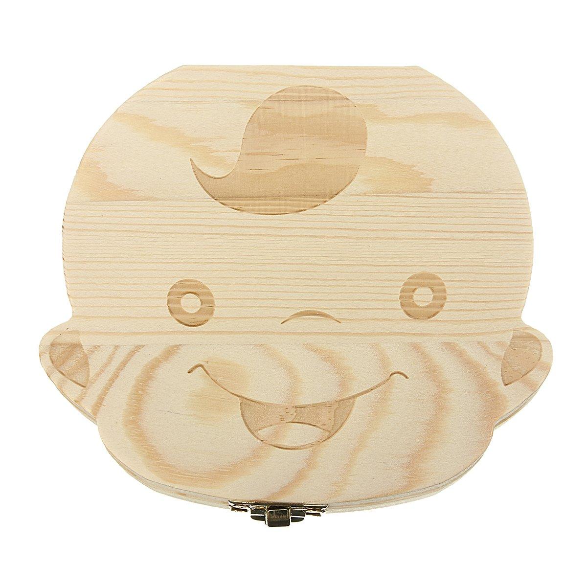 Wood Tooth Box Organizer Baby Children Save Milk Teeth Storage Box BOY