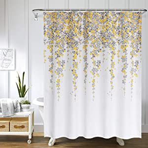 Uphome Weeping Flower Shower Curtain Fabric Vines Floral Shower Curtain Set with Hooks Chic and Elegant Bathroom Decor Heavy Duty and Waterproof (72x72,Yellow)