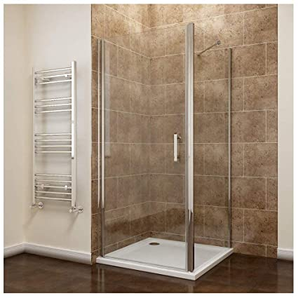 700 X 900mm Frameless Pivot Shower Door Enclosure 6mm Safety Glass Reversible Cubicle Side Tray Amazoncouk Kitchen Home