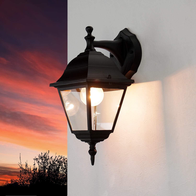 aplique rústico exterior/negro / E27 hasta 60W 230V / aplique IP44 / lámpara de exterior nostálgico/lámpara empotrada/lámpara de jardín de iluminación de patio
