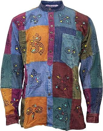 Shopoholic Fashion - Camisa para hombre, diseño de parches: Amazon.es: Ropa y accesorios