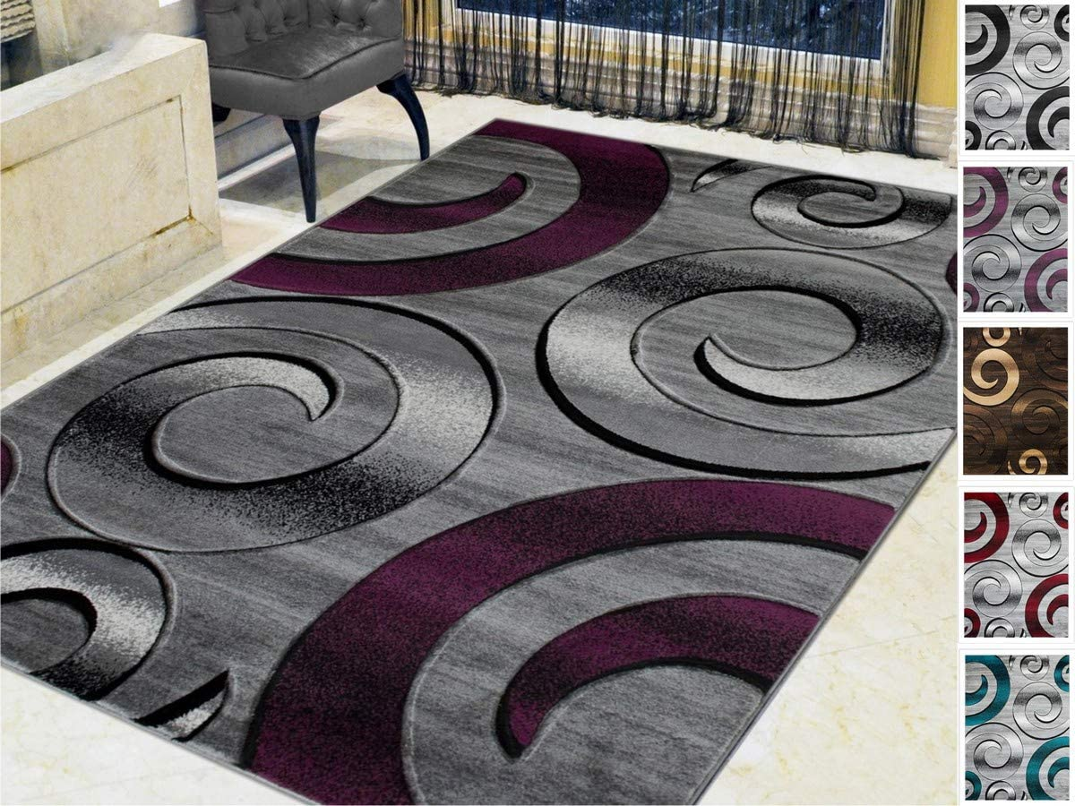 HR-Swirls Circles Spiral Modern Contemporary abstrac tHand Carved Area Rug 5 x7 Silver Purple Gray Black