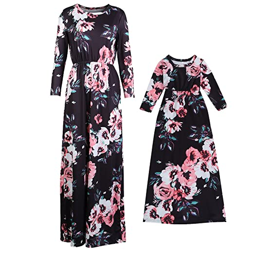 7af96aef9bc18 Summer Mommy and Me Floral Matching Maxi Dress Mother Daughter Sundress  Matching Set
