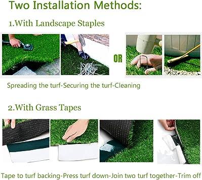 Amazon Com Synthetic Artificial Grass Turf 8ftx8ft Indoor Outdoor Balcony Garden Decor Drainage Holes Faux Grass Rug Carpet For Pets Garden Outdoor