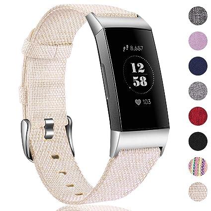 HUMENN Bracelet pour Fitbit Charge 3 Tissé Bande, Remplacement Tissé Bandes de Tissu Accessoires Sport Bracelet pour Fitbit Charge 3, Petit Grand