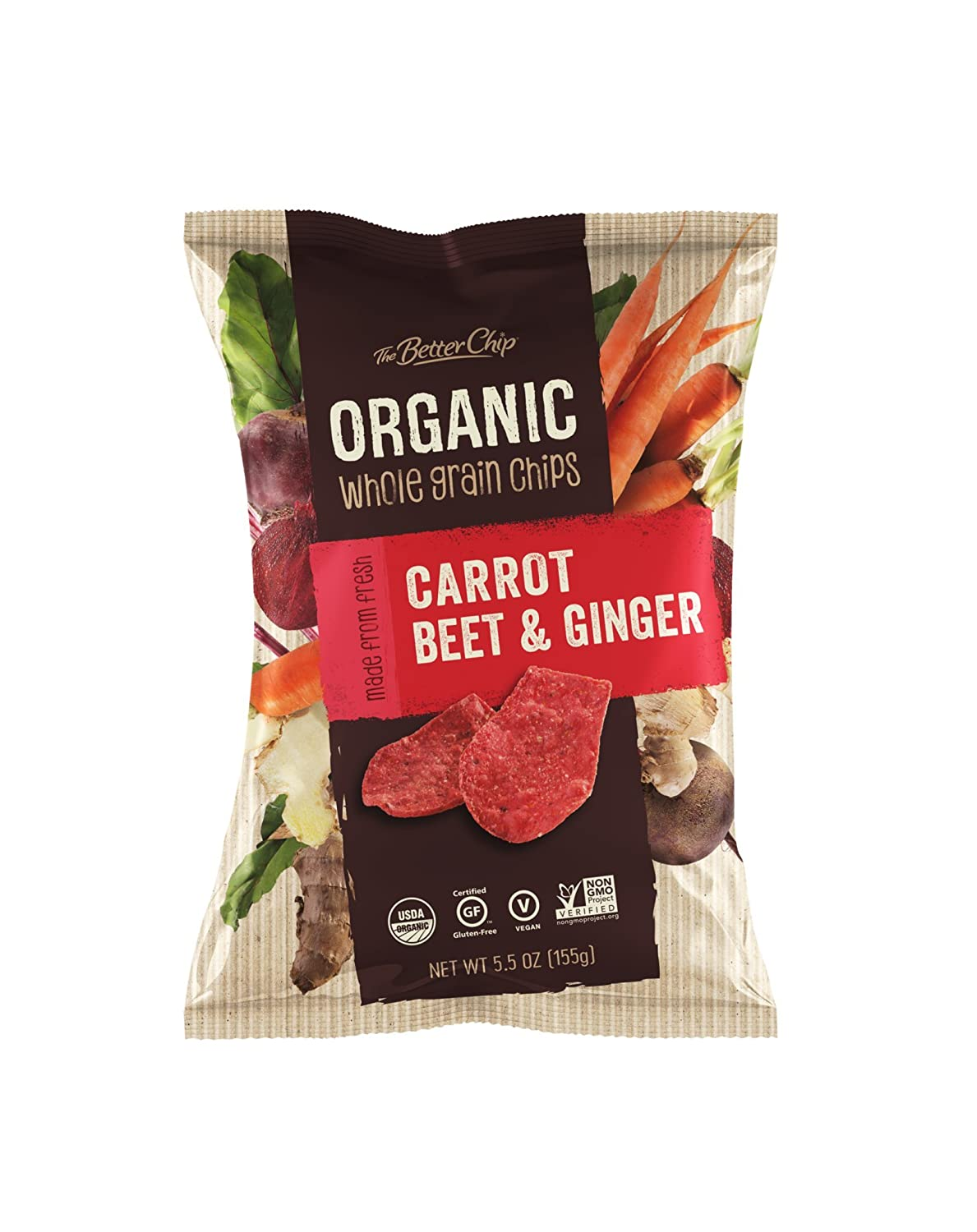 The Better Chip Organic Chips, Red Cabbage Broccoli & Kale, 5 5 Ouce (Pack  of 12)