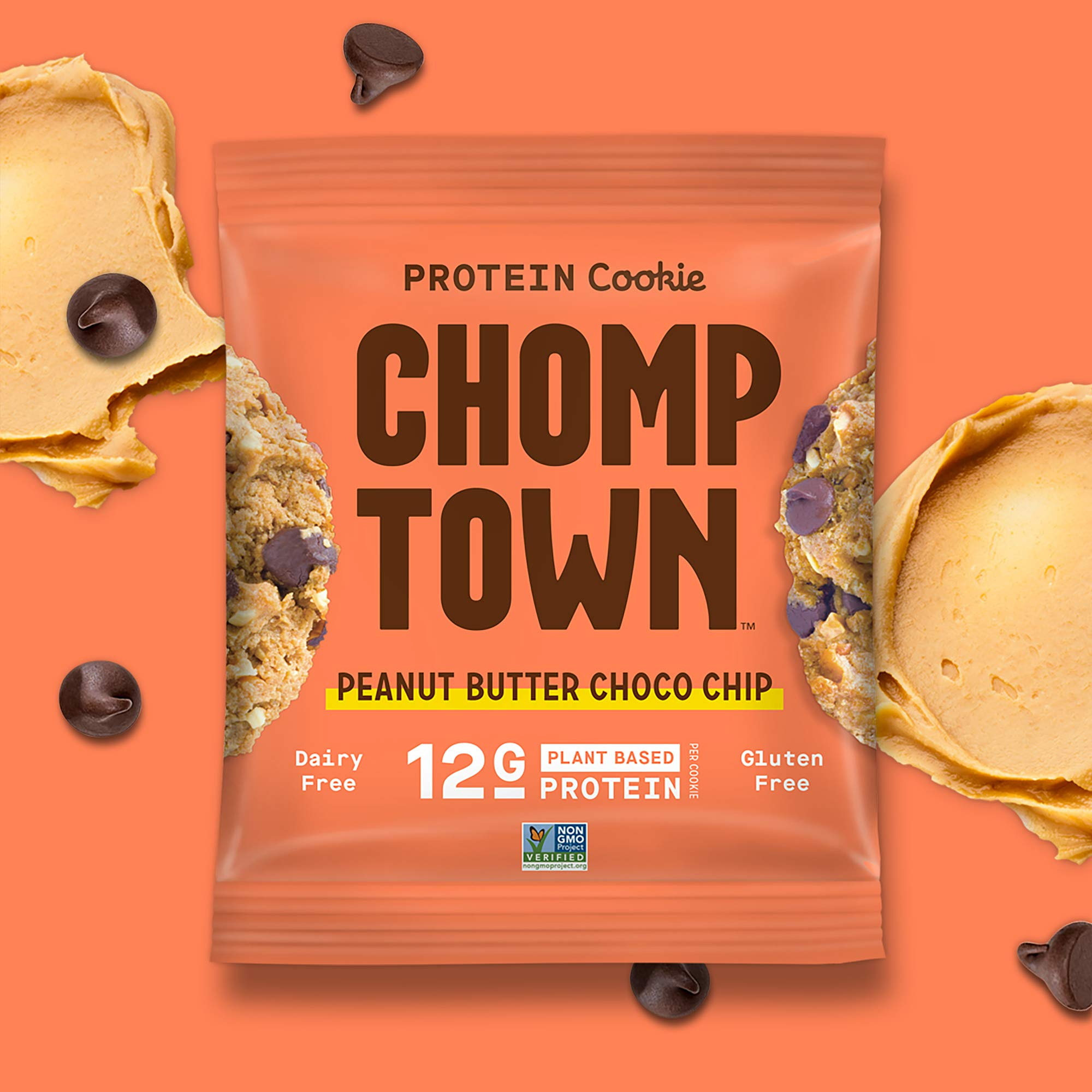 Chomptown | Peanut Butter Chocolate Chip | High-Protein Cookie | 12g Protein | Gluten-Free | Dairy-Free | Non-GMO | Fair Trade | 2.75 oz (Pack of 20) by Chomptown (Image #6)