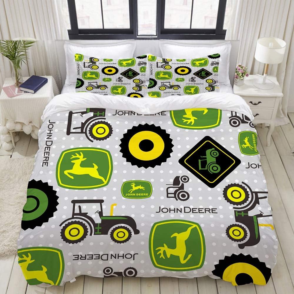 KUDOUXIA Duvet Cover Set Farm Tractor Lightweight Dorm Decorative Theme 3 Piece Bedding Set with 2 Pillow Shams Twin/Twin XL