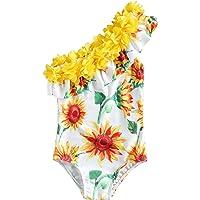 Traje de Baño para Niñas Flor Bañador Bikini con Estampado de Girasol Sandía Piña Hombro Oblicuo Cuello con Volantes…