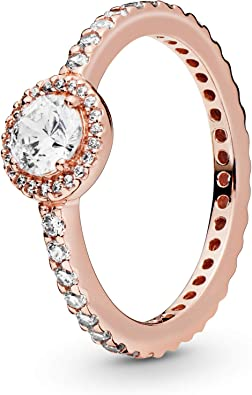 Amazon Com Pandora Jewelry Classic Sparkle Halo Cubic Zirconia Ring In Pandora Rose Size 6 Jewelry