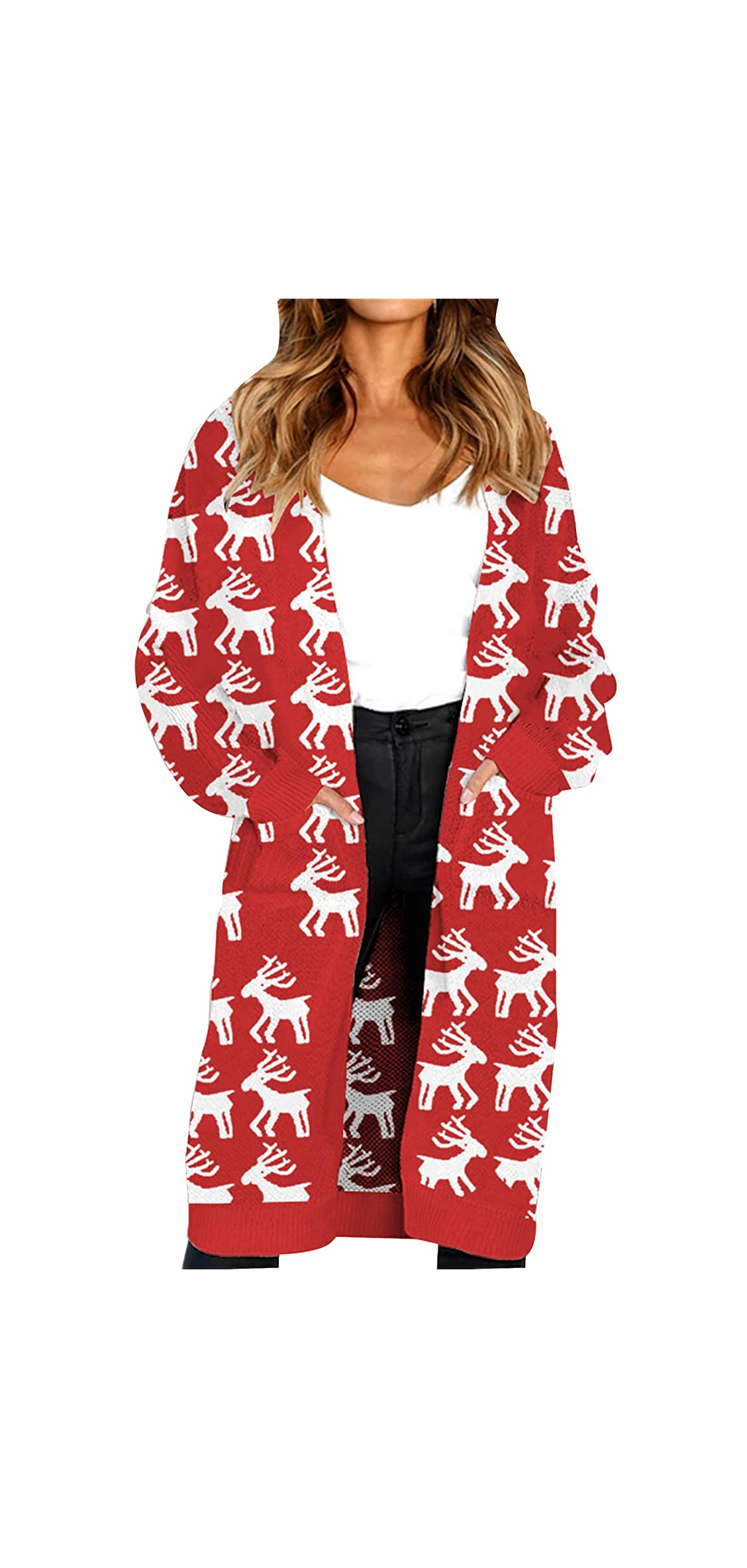 Women's Overcoat Leopard Print Open Front Knitted Long