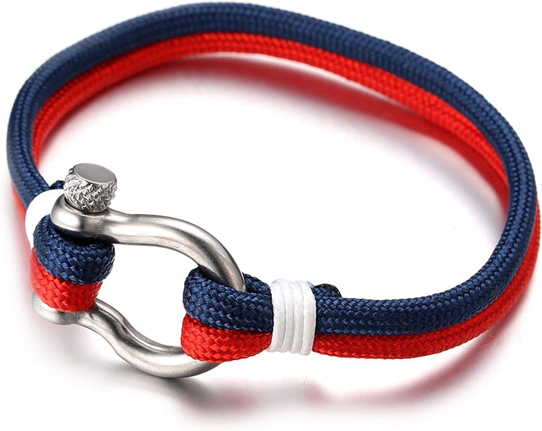 Halukakah ● Voile ● Hommes Corde en Nylon Multicouche Bleu Mix Blanc//Rouge Fait Main Fermoir /à Vis Argent 8.26//21cm avec Le Bo/îte-Cadeau Gratuit