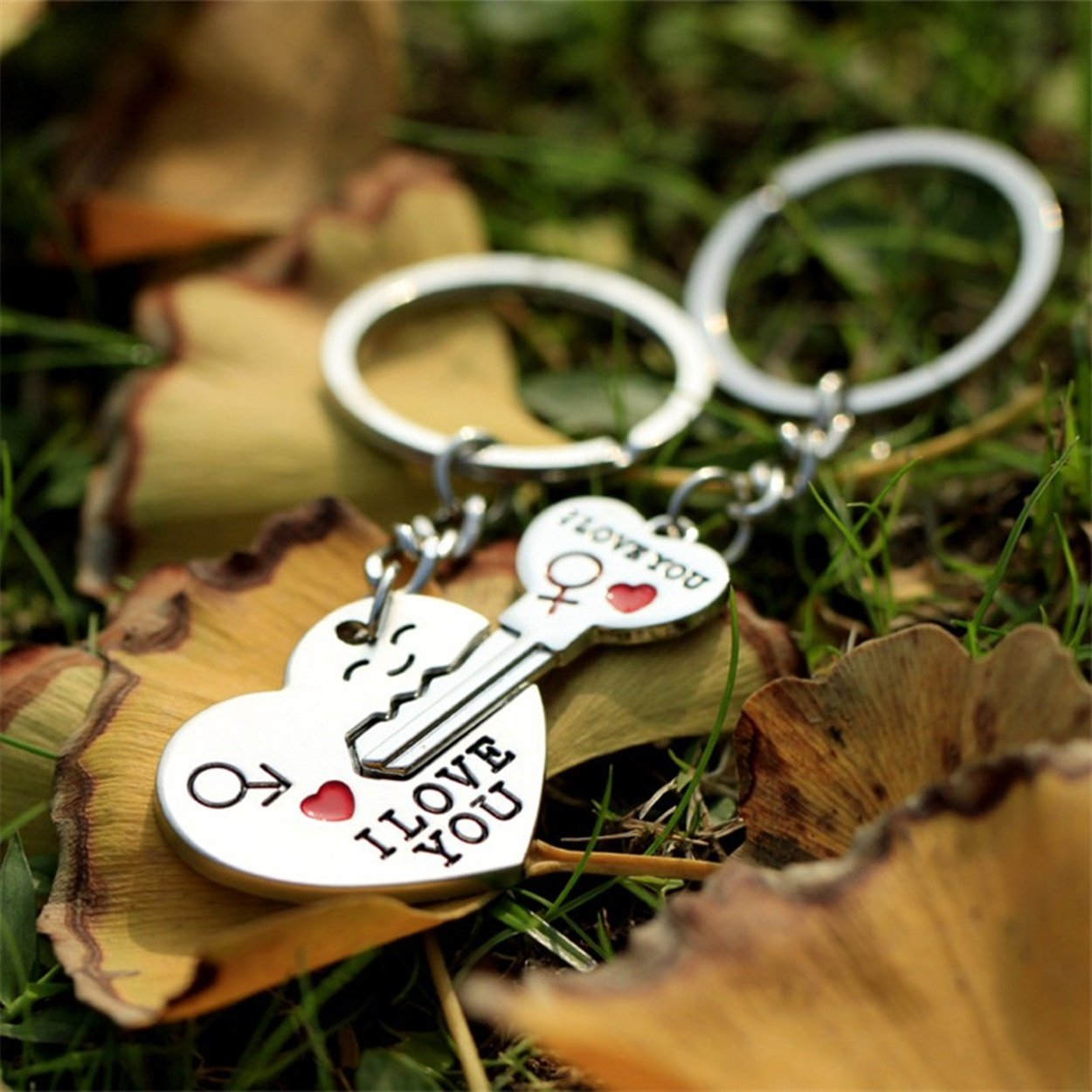 1 Set (2 Pcs/Set) I Love You Lover Arrow Girlfriend Boyfriend Keychains Pendant Women Heart Wrist Wristlet Key Fob Zenith Popular Pocket Teenagers Bag Car Keyring