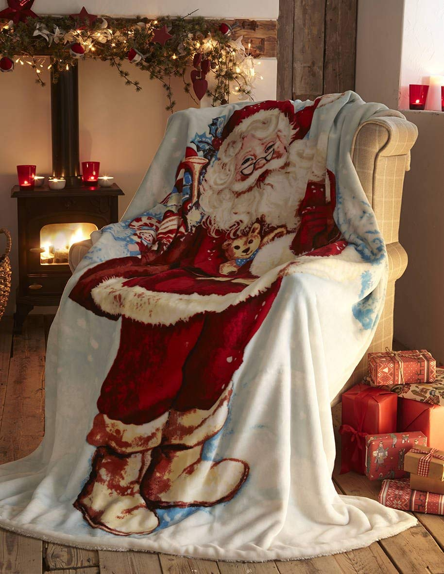 Full Multi-Colour Polyester-Cotton Portfolio Fleece Throw Decorative Bed Sofa Blanket Throwover Xmas Santa Claus