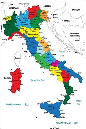 Postereck Poster 0939 Politische Karte Italien Stiefel Bunt