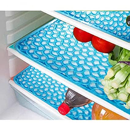 Kuber Industries PVC 6 Pieces Fridge Mat - Blue