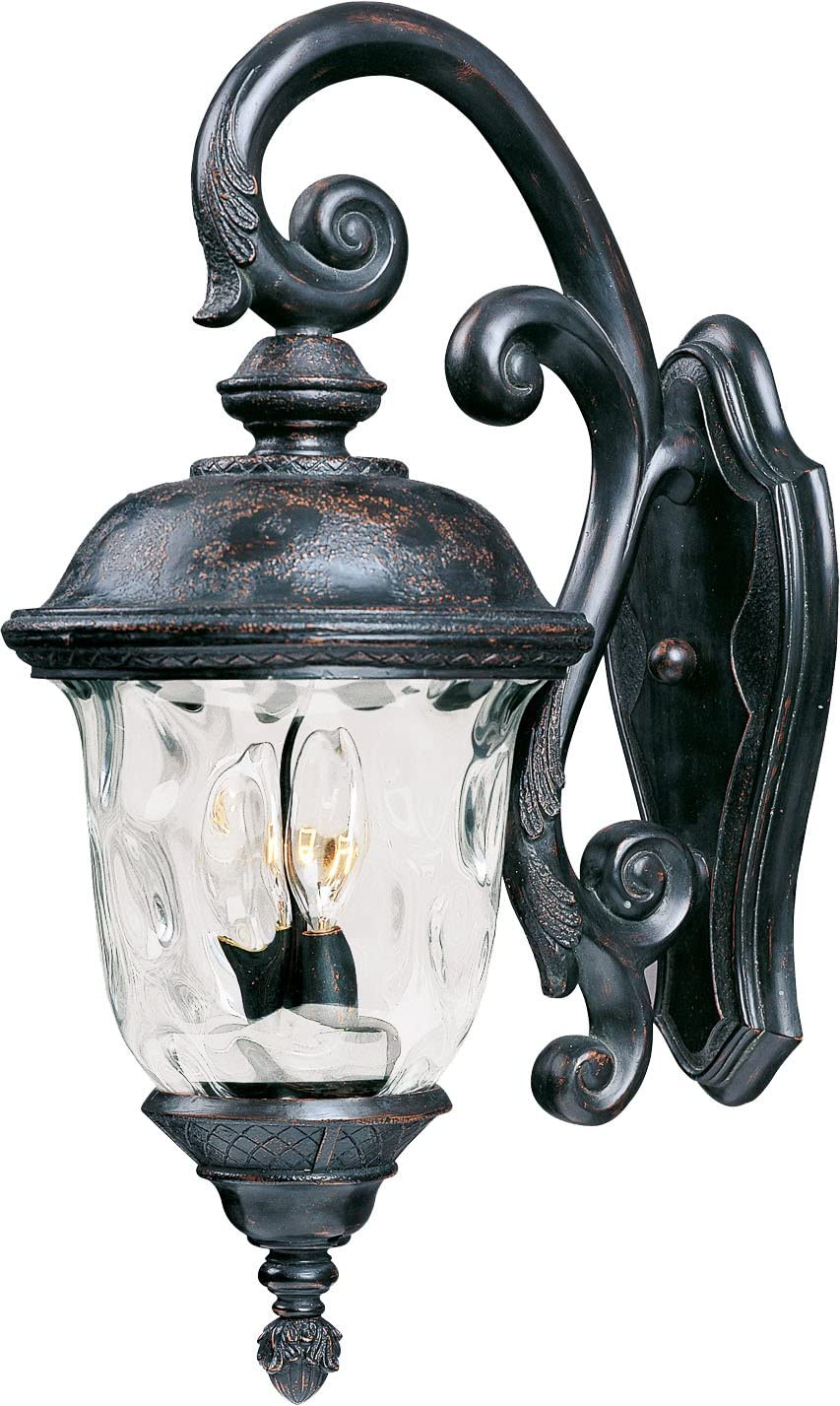 Amazon Com Maxim 40496wgob Carriage House Vx Water Glass Heavy Duty Outdoor Wall Sconce 2 Light 80 Total Watts 20 H X 9 W Oriental Bronze Home Improvement