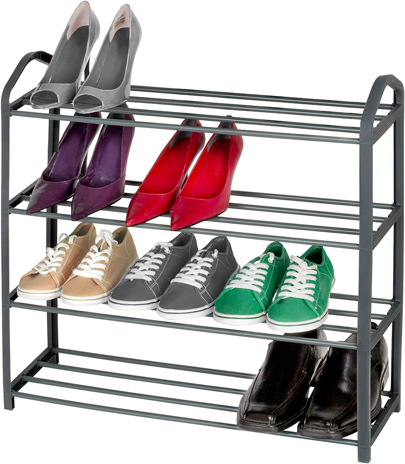 Smart Design 4-Tier Steel Shoe Rack - Holds 12 Pairs of Shoes - Easy Assembly - for Entryway, Closet, Garage - Home Organization (24 x 24 Inch) [Light Gray]