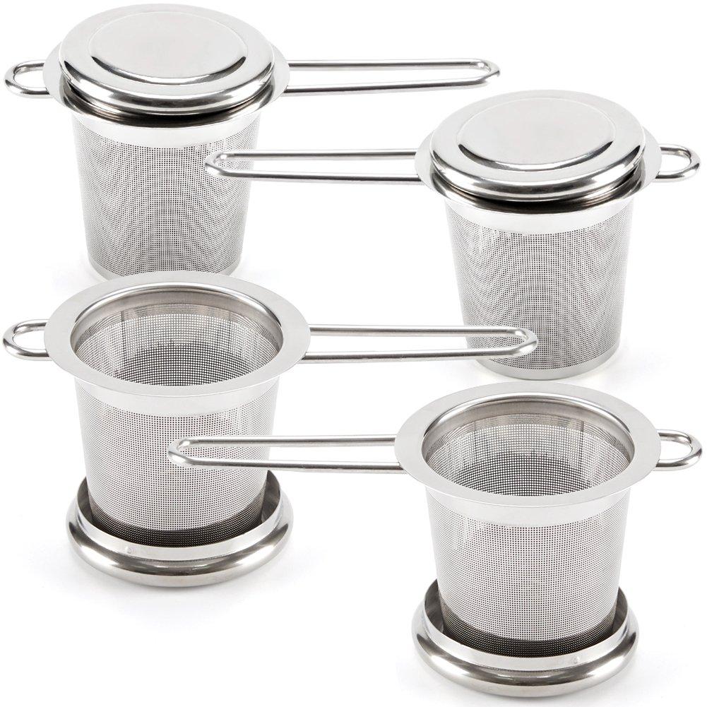 EZOWare Tea Infusers for Loose Leaf Tea [Set of 4] Stainless Steel Fine Mesh Tea Strainer with Handle and Lid, Reusable Tea Steeper for Tea Pot, Cup, Mug