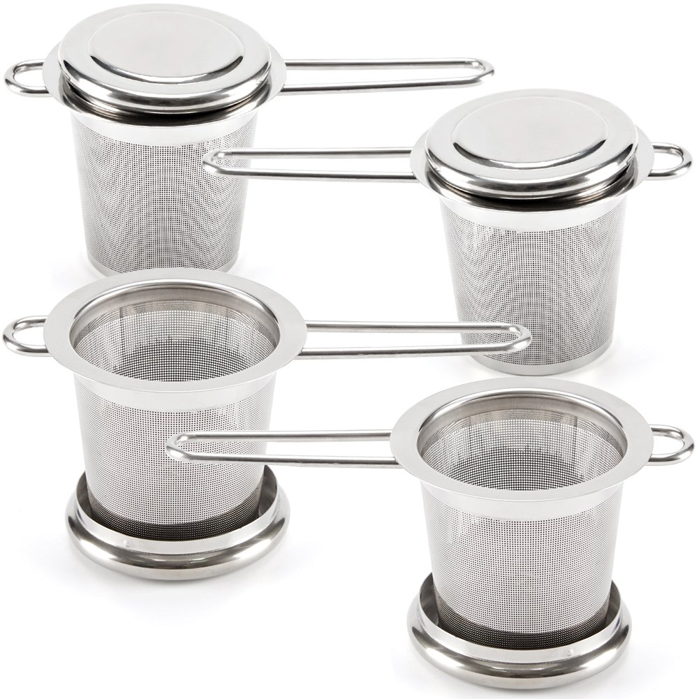 EZOware Tea Infuser for Loose Leaf Tea, Set of 4 Stainless Steel Fine Mesh Tea Strainer with Handle and Lid, Reusable Tea Steeper for Tea Pot, Cup, Mug by EZOWare