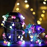 ストリングライト QUETA LEDイルミネーションライト 飾り 多色 屋内/屋外/パーティー装飾 8モード16フィート5Mグローブ50LED