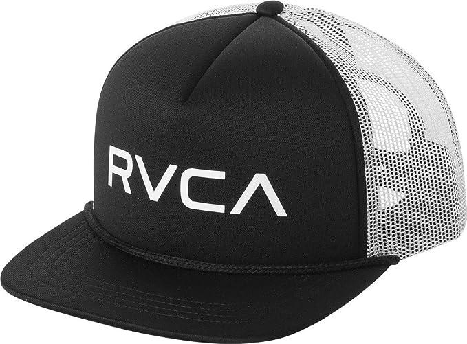Amazon.com  RVCA Foamy Deep Fit Snapback Trucker Hat Black White ... 9ce69bba645