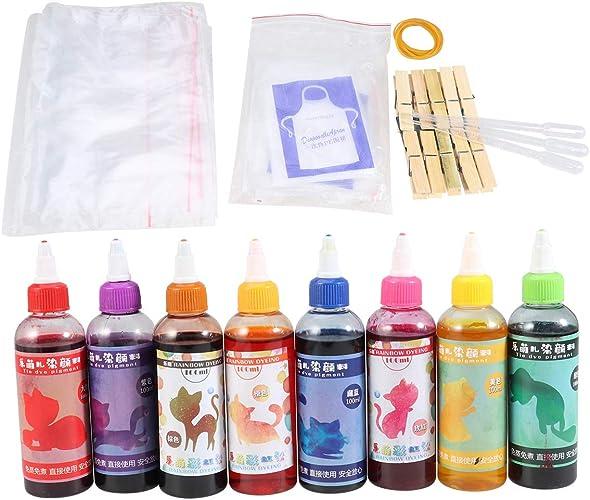 HEALLILY 8-Color DIY Tie Dye Camisa Tinte de tela para moldes ...