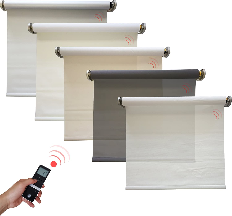 colore: Bianco velocit/à di apertura del tessuto heicko e-ast GmbH 1200 x 2500 mm motore a batteria Tenda avvolgibile oscurante elettrica 0/%