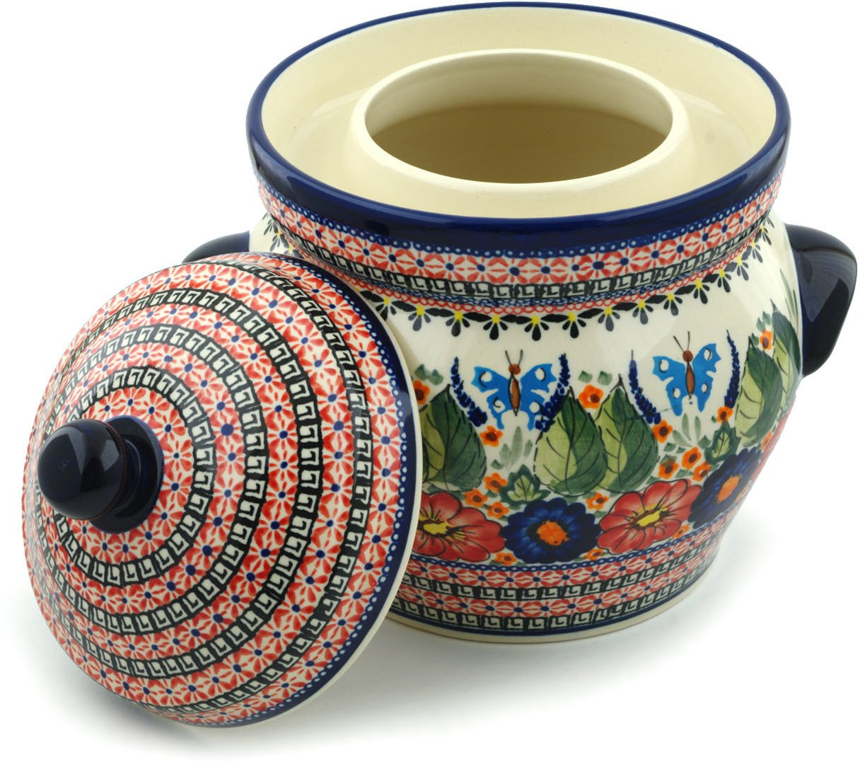 Polish Pottery Fermenting Crock Pot with Water Seal (1 Gallon) Spring Splendor UNIKAT by Polmedia Polish Pottery