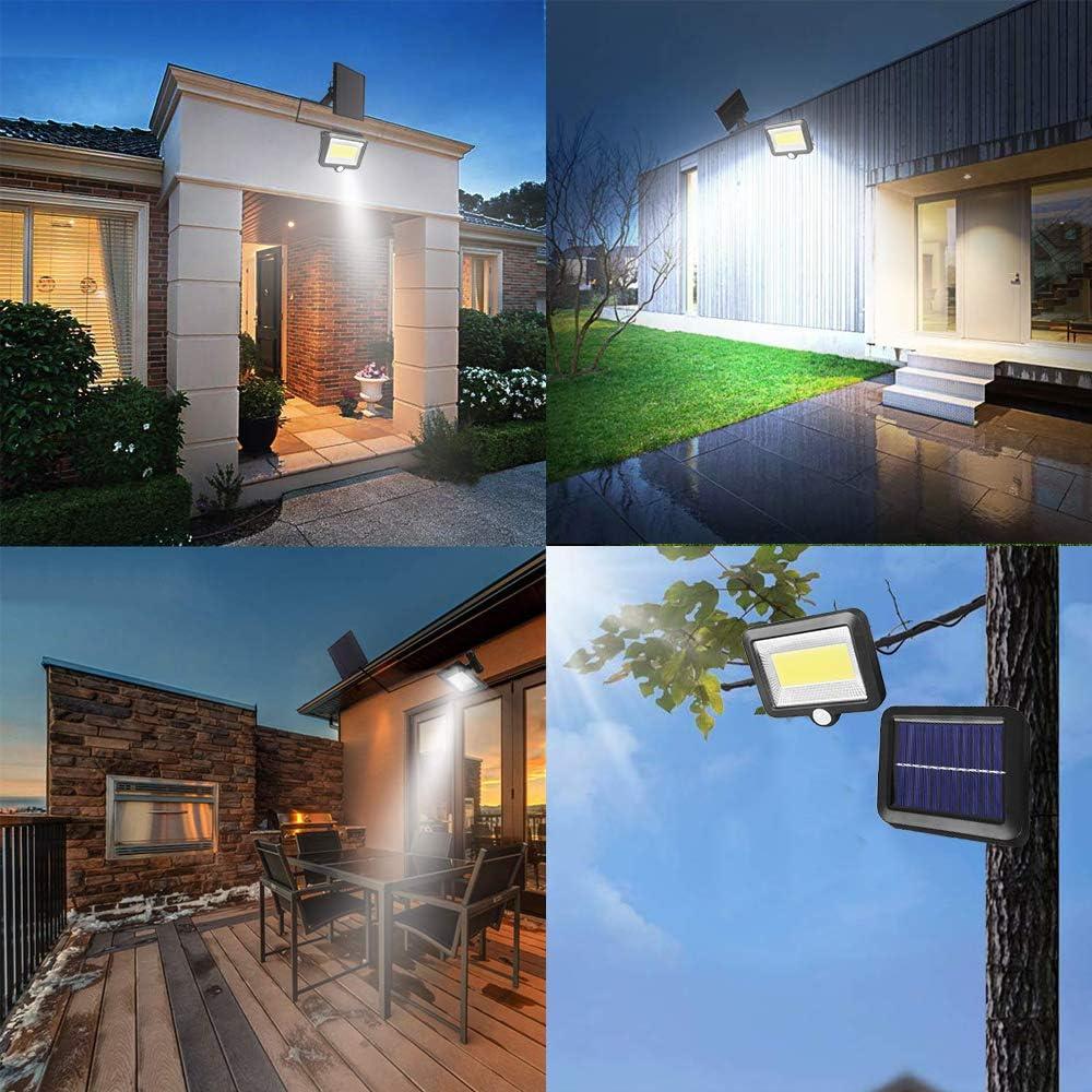 100 LED Solar Strahler Solarlampe mit Bewegungsmelder P65 Wasserdicht Super Hell Solarleuchte f/ür Garten Garage Patio Solarlampen f/ür Au/ßen