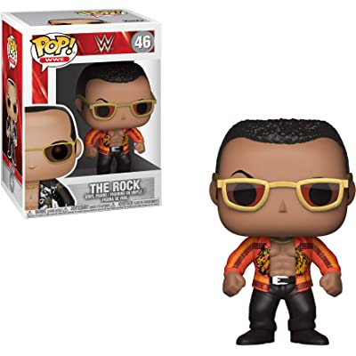 Funko POP! WWE: - The Rock Old School (Styles May Vary) Collectible Toy: Funko Pop! Wwe:: Toys & Games