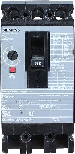 Siemens ED63A050 Type ED6-ETI 3P 50 AMP Motor Circuit Interrupter Breaker