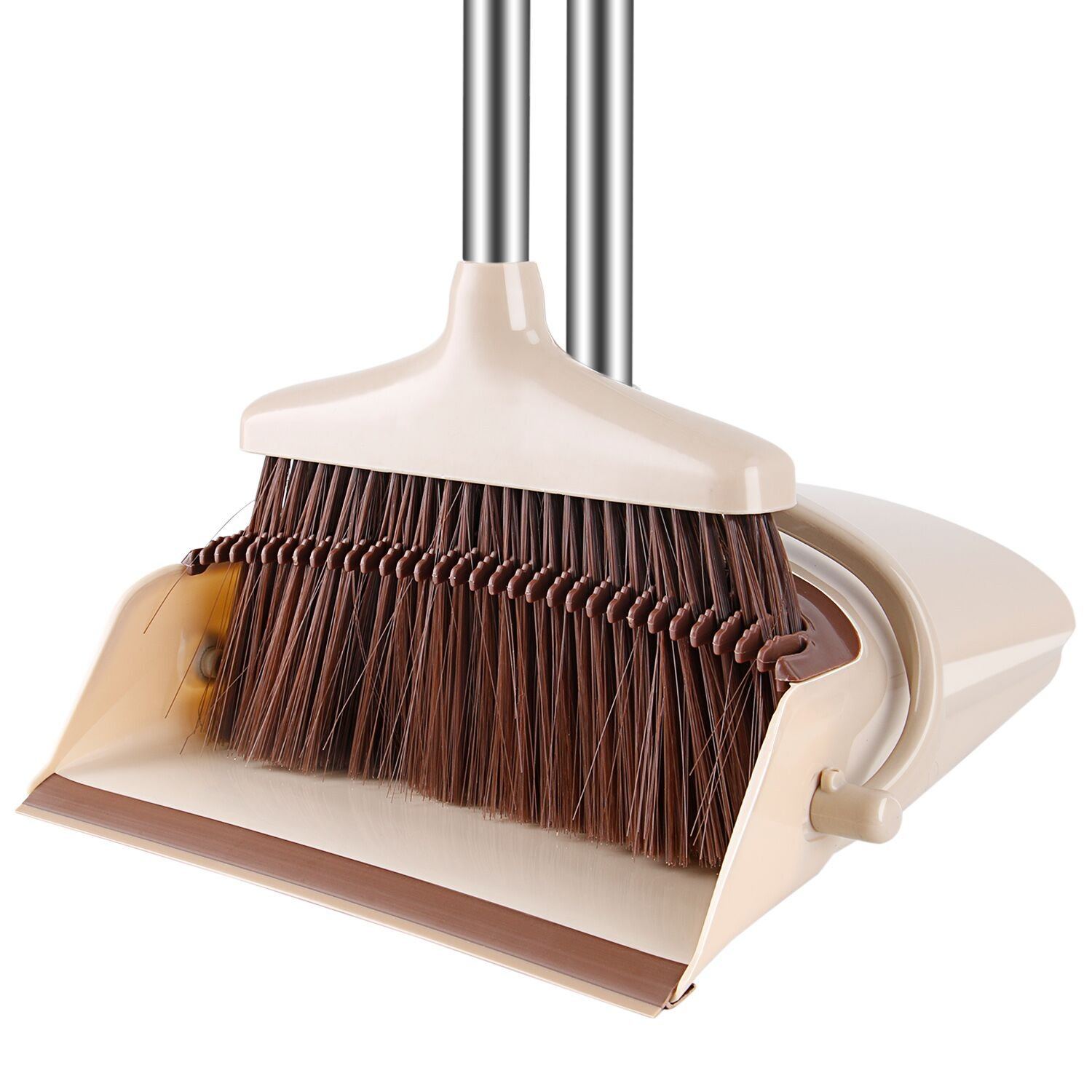 Windproof Broom and Dustpan Set Upright with Long Handle Great for Sweeping Kitchen,Office, House, Outdoors