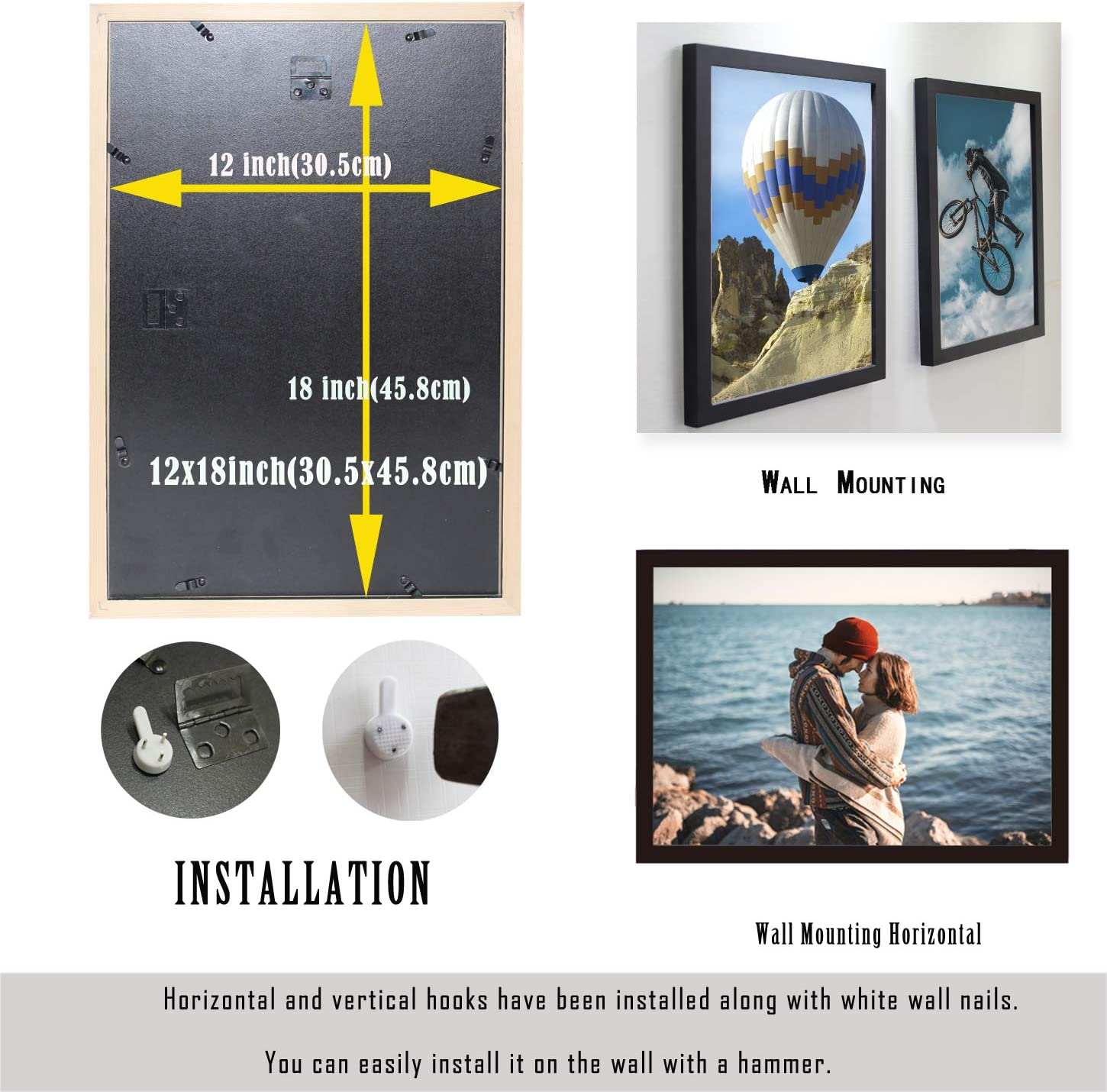 Black, A4-2Pack A4 Poster Frame Black 2 Pack Solid Wood Suitable for Document Poster Picture Frames Wall Mounting