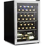 Klarstein Falcon Crest cave à vin réfrigérateur à boisson 128 litres de volume et 48 bouteilles 10 étagères température de 4 à 18°C 67 litres volumes cadenas et 2 clés argent