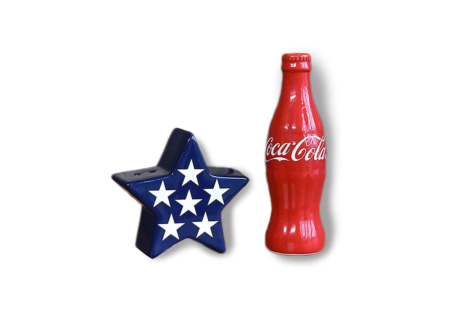 youngs Inc Ceramic Coca Cola Salt & Pepper Set, Multi