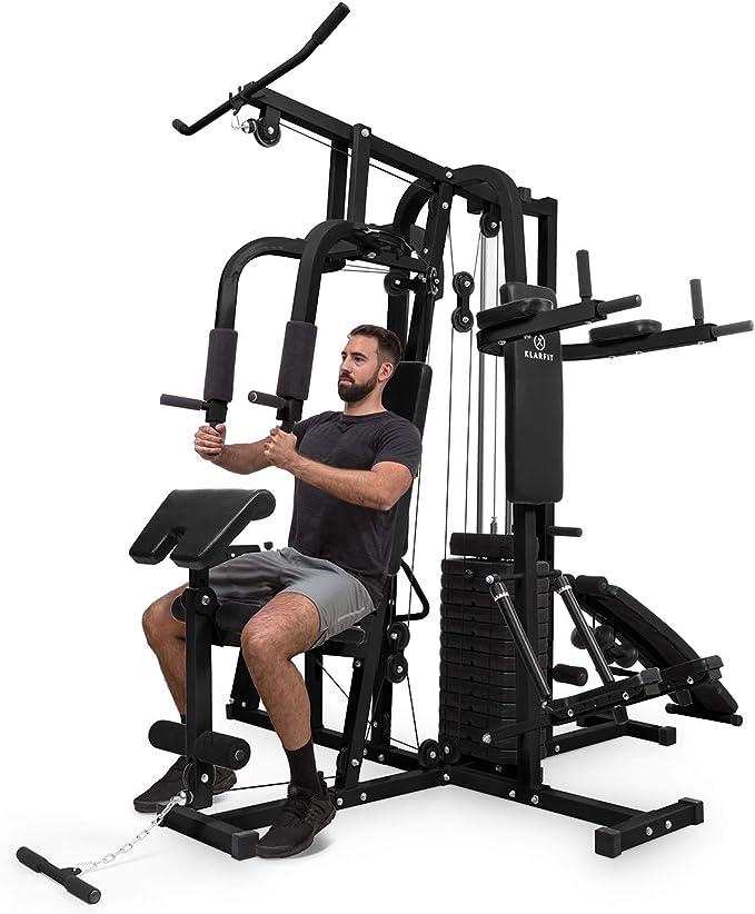 Klarfit Ultimate Gym 9000 estación de Entrenamiento: paralelas, Banco declinado, Escalera, Curl, Prensa para Pierna, contractora y jalones (más de 100 Ejercicios para 2 Personas, MAX. 150kg) Negro: Amazon.es: Deportes y aire libre