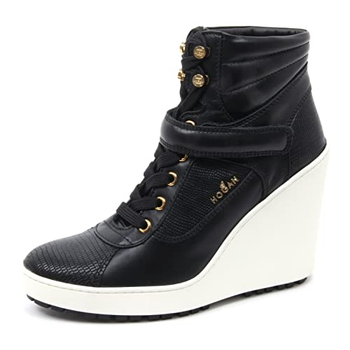 B4090 tronchetto donna HOGAN nero H249 scarpa stivaletto zeppa nero HOGAN shoe boot woman 630e6c