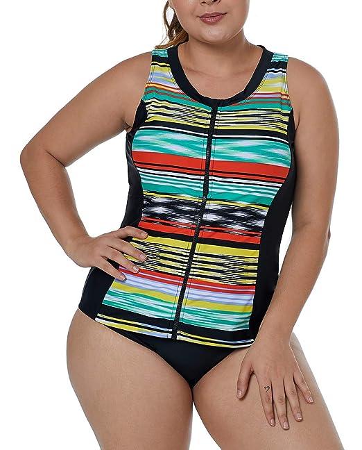 4aaed09a918 WoldGirls Women's Plus Size Striped Zip Down Vest Tankini Swimsuits Bikini  Tops Green: Amazon.ca: Clothing & Accessories